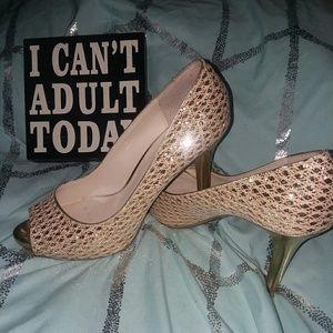 Audrey Brooke Size 9 Golden High Heels